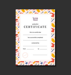 Pre-made certificate for sewing or crafts school vector