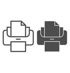 Printer line and glyph icon print vector