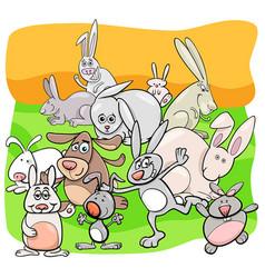 Rabbits cartoon animal characters group vector