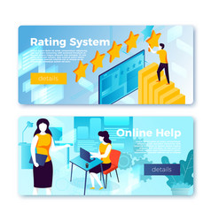 Rating system and online help banners vector