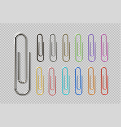 Realistic colorful paper clip set metal fasteners vector