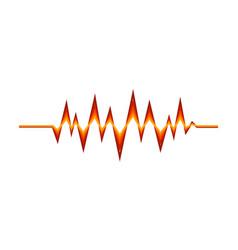 Red-orange sound pulse digital music wave audio vector