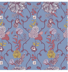 romantic seamless pattern with beautiful blooming vector image