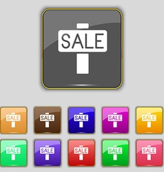 Sale price tag icon sign Set with eleven colored vector