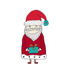 santa claus cartoon character with gift box vector image