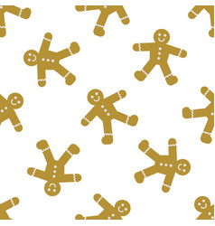 seamless pattern with gingerbread men cookies vector image
