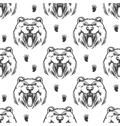 Seamless pattern with grizzly bear vector