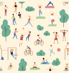seamless pattern with men and women performing vector image