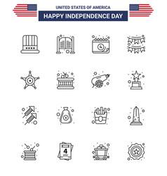 Set 16 usa day icons american symbols vector