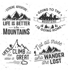 Set of mountains related typographic quote vector