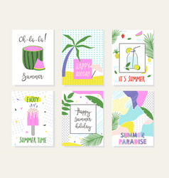 Set of summer cards vector