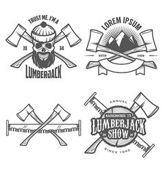 Set of vintage lumberjack design elements vector