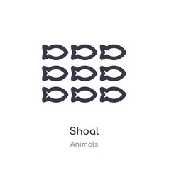 Shoal outline icon isolated line from animals vector