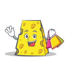 Shopping cheese character cartoon style vector