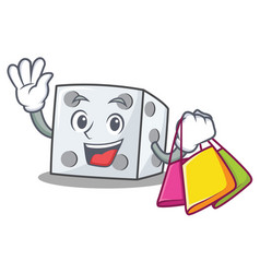 Shopping dice character cartoon style vector