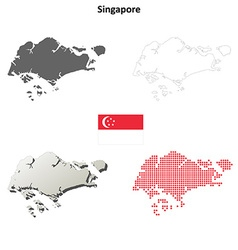 Singapore outline map set vector image