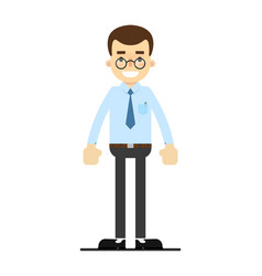 smiling office clerk character in flat design vector image