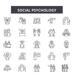 Social psychology line icons signs set vector