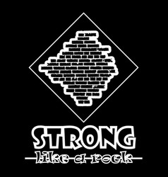 Strong like a rock abstract black style flat vector