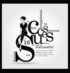 success quote with fashion woman in sketch style vector image