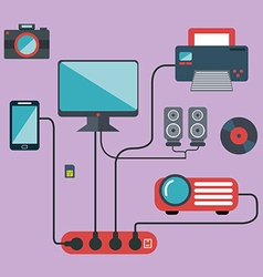 Technology connections concept idea in flat style vector