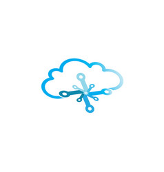 technology with clouds logo vector image