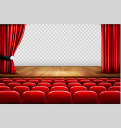 Theater stage with wooden floor and open red vector