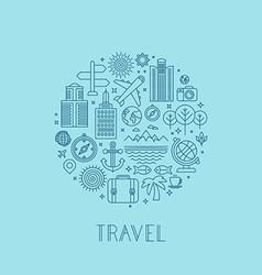 Travel logos and icons in outline style vector