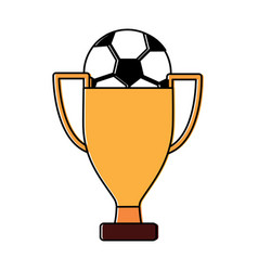 trophy soccer ball winner sport vector image