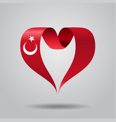 turkish flag heart-shaped ribbon vector image