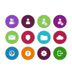 User Account circle icons on white background vector image