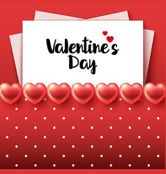 valentines day background with glossy hearts vector image
