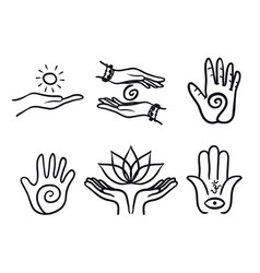 Variety healing hands set vector