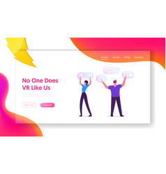 Virtual augmented reality website landing page vector