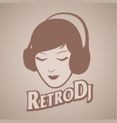 Woman retro style with headphones around her head vector