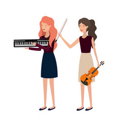 women with musical instruments character vector image