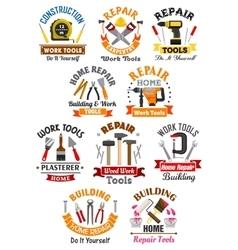 Work tools emblems set for repair construction vector image