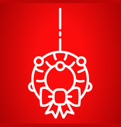 xmas door wreath icon outline style vector image