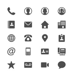 contact glyph icons vector image vector image