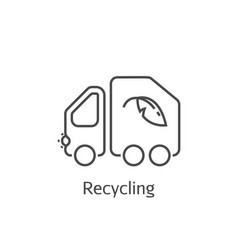 garbage truck thin line icon vector image vector image