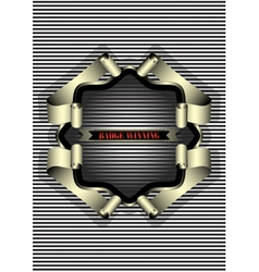 Silver frame for the badge on striped background vector image