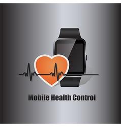 smart watch with heart beat symbol vector image vector image