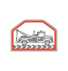 Tow Wrecker Truck Side Retro vector image