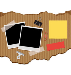 two photoframes and notepads on cardboard vector image vector image