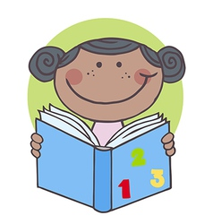 African American Kid Girl Reading A Book vector image