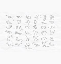Animals flat origami set crumpled vector