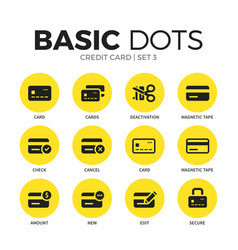 credit card flat icons set vector image