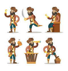 Funny cartoon pirate with sword and treasure vector