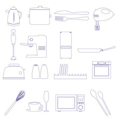 home kitchen outline icons theme set eps10 vector image