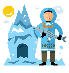 smiling eskimo with fish flat style vector image vector image